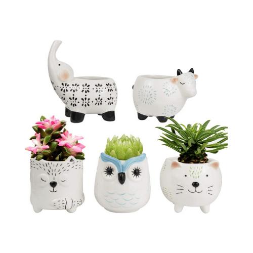 Macetas suculentas – Lindo juego de animales de cerámica, gato vaca elefante zorro búho, decoración del hogar regalo