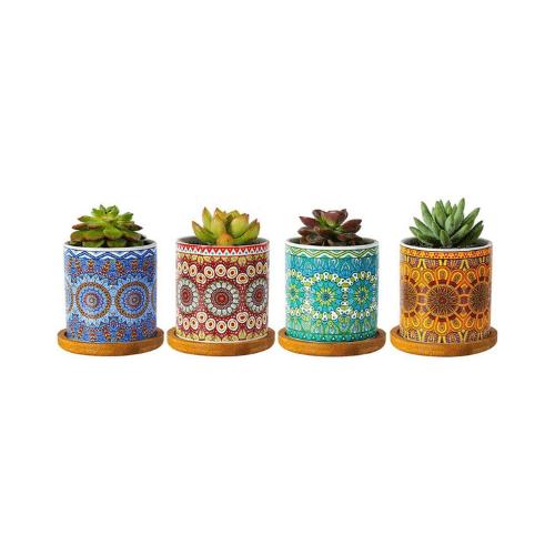 """Winemana Macetas suculentas de estilo mandala, cilindro moderno de 3 pulgadas, coloridas macetas de cerámica para cactus con orificio de drenaje y bandejas de bambú, juego de 3, 3"""", Rojo+ azul+ verde"""